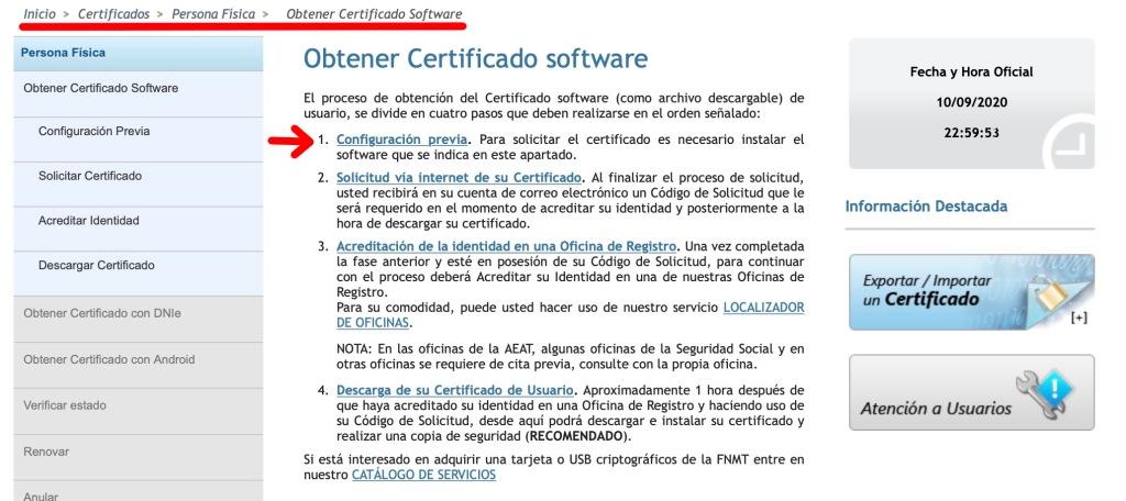 Configuración previa a la solicitud del certificado digital.