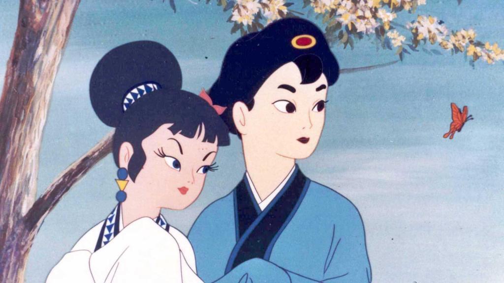 Fotograma de Hakujaden (1958) de Taiji Yabushita y Kazuhiko Okabe. Se trata del primer largometraje de la productora Toei Animation.